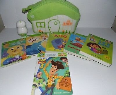 LEAPFROG TAG JR SYSTEM Dog Reader 6 Books Carry Case Pooh Dora