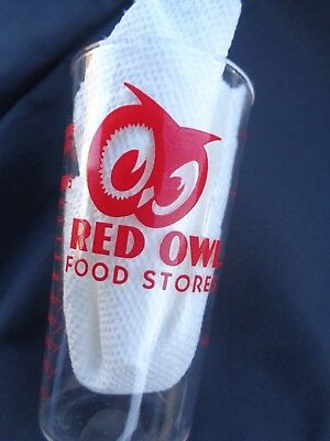 Vintage Red Owl Grocery Food Store Advertising Glass Measuring Cup 8 oz