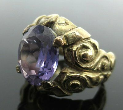 Antique Synthetic Alexandrite & 14K Yellow Gold Ring Size 6.5