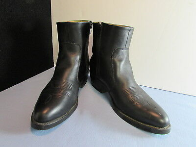 95c1925f54e DURANGO TR820 BLACK Leather Side Zip Western Ankle Boot Mens Size 9.5 D