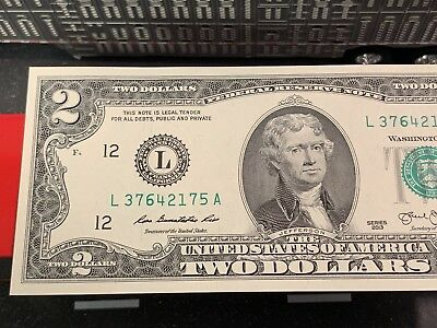 New 1 Uncirculated $2 Two Dollar  Lucky 🍀 Bill Crisp San Francisco Series 2013