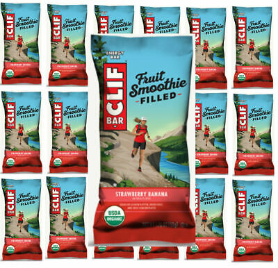 Lot of 60 CLIF ENERGY BAR Fruit Smoothie Filled Strawberry Banana BB 06/10/2019