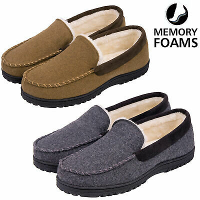 Men's Comfy Wool Micro Suede  Fleece Lined Moccasin Slippers Shoes