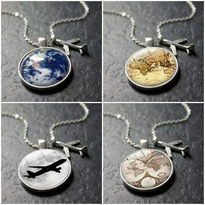 Travel Jewelry Alloy Glass Earth Plane Necklace World Map Pendant Necklace