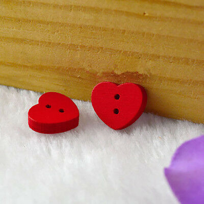 100Pcs Red Heart Wood Buttons Sewing Scrapbooking Cardmaking Craft DIY Lot