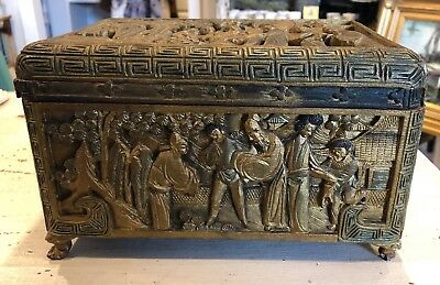 Vintage Chinese Carved Wood Men & Women Scene Box Gold Paint Trunk Case As-is