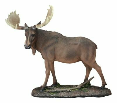 "Realistic Large Bull Moose In The Forest Statue 19.5""L Wildlife Elk Deer Decor"