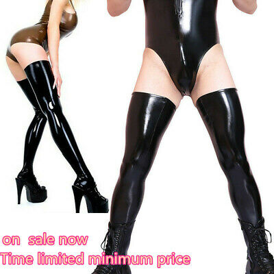 Latex Rubber Stockings Thigh High Women Men Sexy Wet Look Spandex Dance Leggings