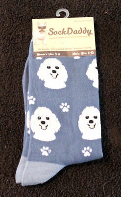 Poodle White Dog Breed Lightweight Stretch Cotton Adult Socks