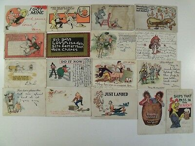 UNDIVIDED BACK COMIC HUMOR & GREETING, 17 POSTCARD LOT! 1901 MOST 1900's FUNNY a
