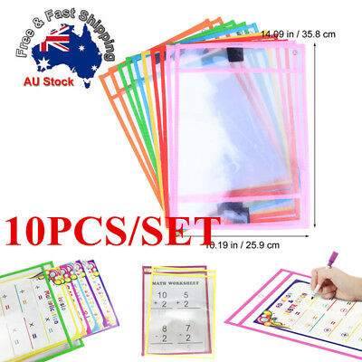 10x Transparent PVC Reusable Dry Erase Pockets Paper Saver Tool for Kid