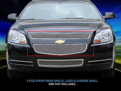 Chrome Mesh Grille Front Upper Grill Stainless Steel For 2008-2012 Chevy Malibu
