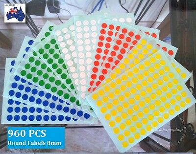 960 Pcs Assorted Colour Code Round Stickers Circle Label Dots Spots Small 8mm