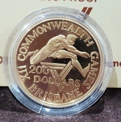 1982 Australian $200 Proof Gold Coin XII Commonwealth Games Brisbane