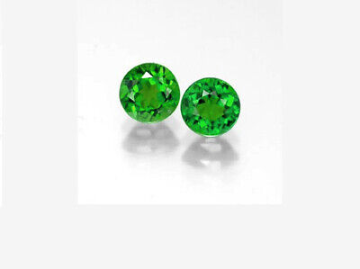 4 mm Round PAIR Fine Deep Rich Green Faceted AAA Chrome Diopside Gems