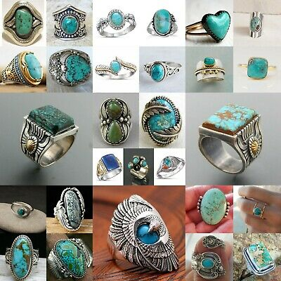 Wholesale Handmade 925 Silver Turquoise Ring Women Men Vintage Jewelry Sz6-12