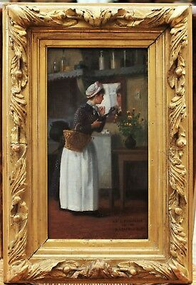 Rare and lovely painting, Young lady and basket, Basile Lemeunier (1852-1922)