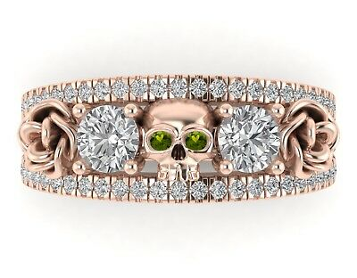 10K Rose Gold Finish 2.30 Ct Round Cut Peridot Engagement Halloween Skull Ring
