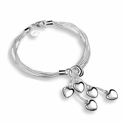Personality 925 silver heart multilayer bracelet bracelet female ornaments