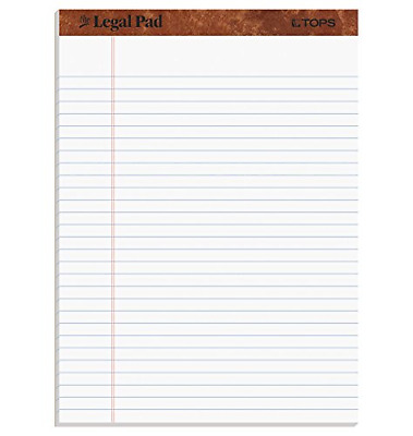 "TOPS The Legal Pad Writing Pads, 8-1/2"" x 11-3/4"", Legal Rule, 50 Sheets, 12"