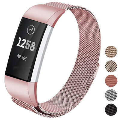 Luxury Milanese Stainless Steel Magnetic Loop Watch Band For Fitbit Charge 3