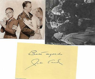 JOHN LUND signed card and photo clippings vintage movie star 1940's 1950's