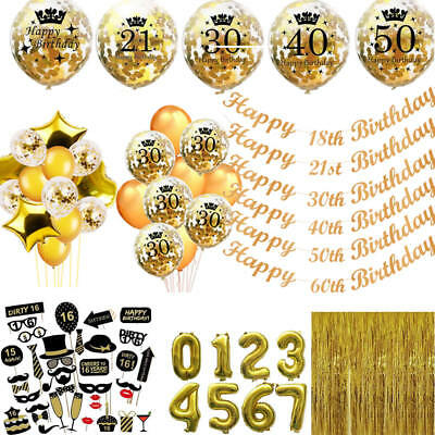 Gold Happy Birthday Bunting Banner Balloons 18/21st/30/40/50/60th Party Decor
