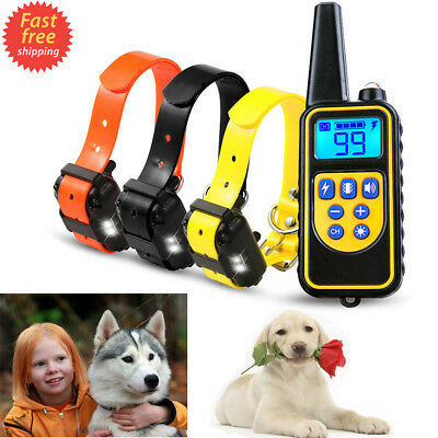 New 2600FT Dog Shock Collar Remote Rechargeable Waterproof Pet Obedience Trainer
