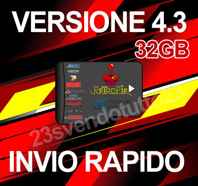 32GB Retro Gaming Console Retropie Arcade Raspberry Ver. 4.3 INVIO RAPIDO NATALE