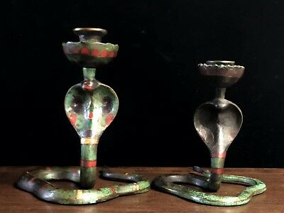 Chinese Tibetan style old copper hand-made snake-shaped gemstone candlestick