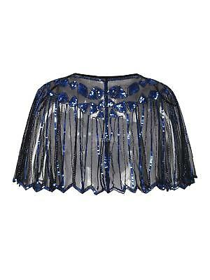 Women Ladies 1920s Shawl Wraps Sequin Evening Cape Bridal Bolero Flapper Vintage