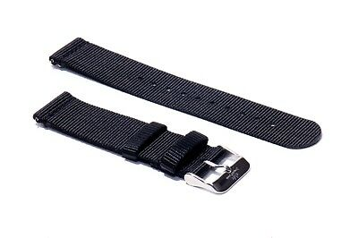 sMc 20/22mm Space Black 2-Piece Nylon Watch Strap Replacement Band Quick Release