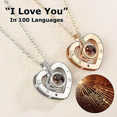 I LOVE YOU Projection in 100 languages Pendant Necklace Love Heart Women Jewelry