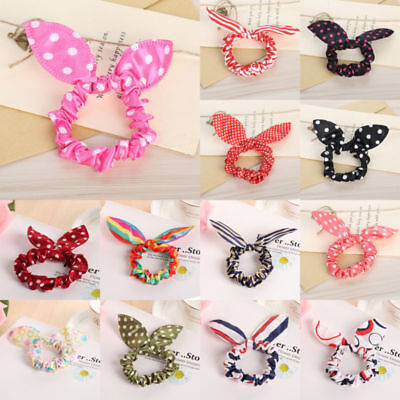 10pc Women Elastic Ear Hair Band Rope Scrunchie Ponytail Holder Bow Rabbit Bunny