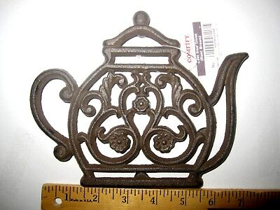 """Decorative Cast Iron Teapot Trivet-Footed. Tables Dining Kitchen Patio 7.5 x 6"""""""