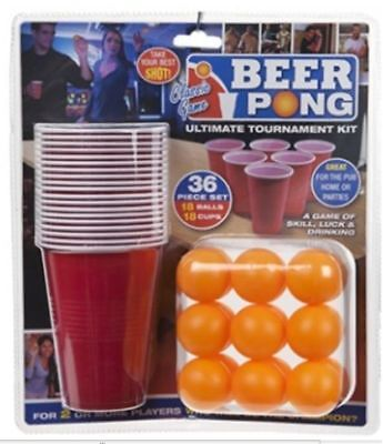 36 Piece Set Beer Pong Game Ultimate Tournament Kit Fun Party Gift Holiday Games