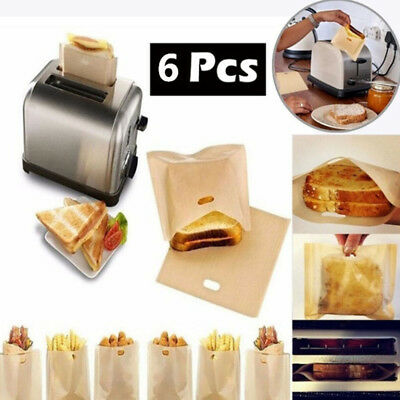 1/6 Pcs Reusable Sandwiches Toaster Bag Heat Resistant Oven Non-Stick Bread Bags