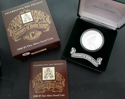 2008 Australia Centenary of Rugby League 36.3g Silver (.999) $5 proof coin
