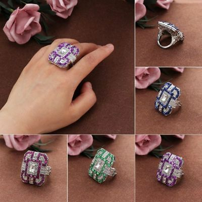 Antique art deco large jewelry with silver-plated sapphire and diamond rings