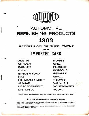 1963 Dupont Import Car Refinish Color Reference Supplement Guide Chart Brochure