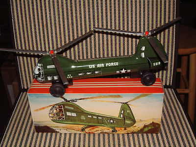 Nos Large Tin, Dual Friction Driven,  B&s (W. German) Navy Dual Roto Helicopter!
