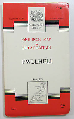 1965 old vintage OS Ordnance Survey One-inch seventh Series Map 115 Pwllheli
