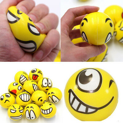 12x EMOJI STRESS BALLS Hand Relief Squeeze Toy Reliever Antistress Soft Smiley