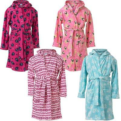 INSIGNIA Girls Kids Dressing Gown Fleece Bathrobe Wrap Soft Hooded Pug Owl Pink