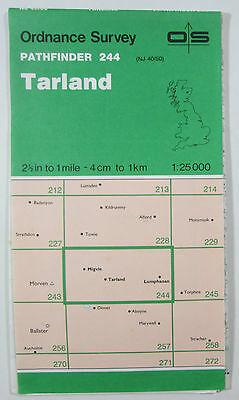 1989 old vintage OS Ordnance Survey 1:25000 Pathfinder map 244 Tarland NJ 40/50