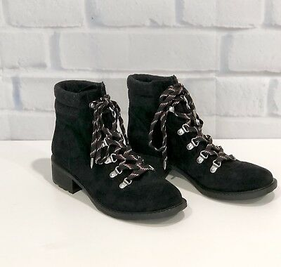 eba0b3c80c12 Sam Edelman Darrah Lace-Up Combat Hiking Boots Booties Black Gray Suede  Size 8.5