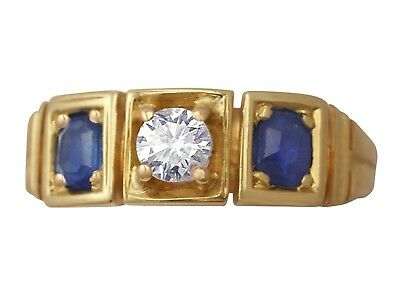 Antique 0.62 ct Sapphire 0.29 ct Diamond & 15 ct Yellow Gold Three Stone Ring