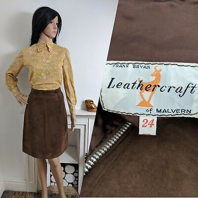 Vintage 60s 70s Leathercraft Suede Brown Skirt Mod Beatnik 8 10 36 38