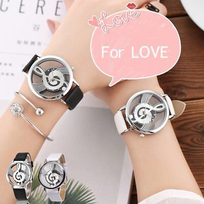 Double-sided hollow perspective music symbol Quartz Watch Love Wrist Watch F7