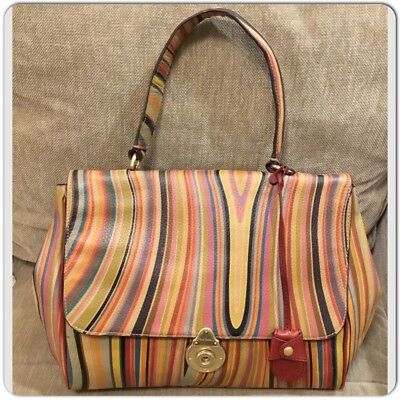 AUTHENTIC PAUL SMITH Multicolor Swirl Print Leather Satchel Tote Bag ... 46cf39a9b4